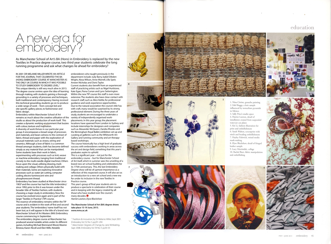 Feature Writer, Embroidery Magazine May/June 2013